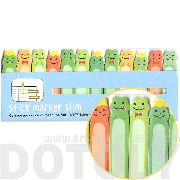 Frog Prince Shaped Animal Themed Sticky Post-it Memo Bookmark Tabs | DOTOLY