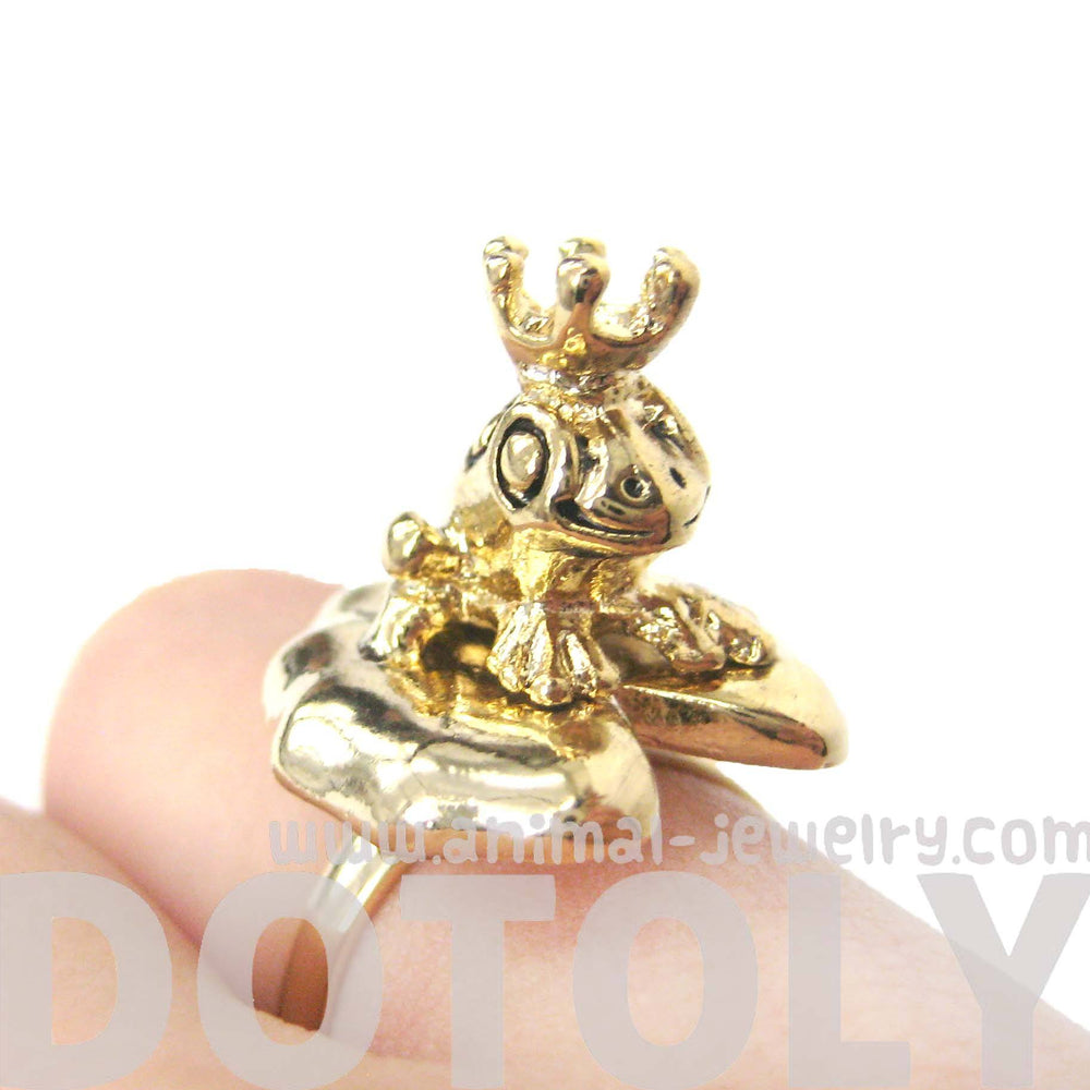 Frog Prince on A Lily Pad Animal Themed Adjustable Ring in Shiny Gold
