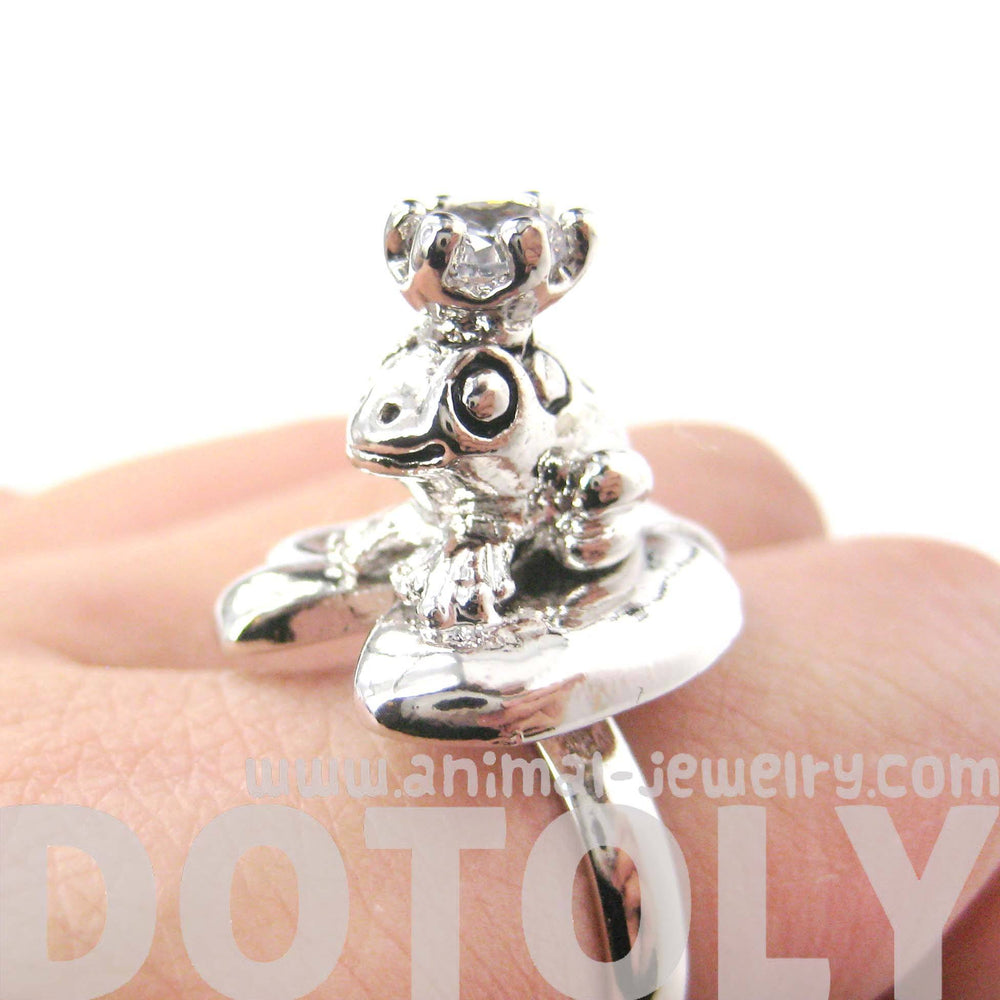 Frog Prince Toad on A Lily Pad Animal Themed Adjustable Ring in Shiny Silver | DOTOLY