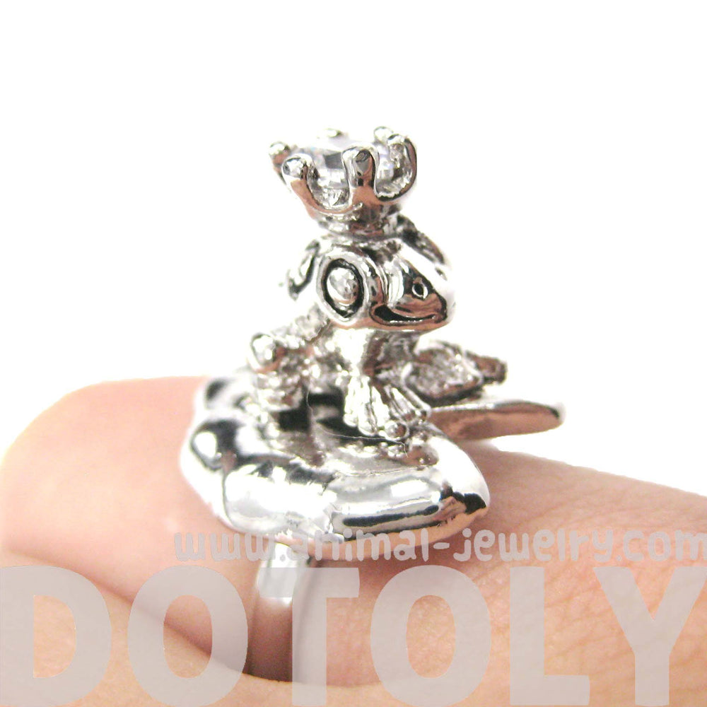 Frog Prince on A Lily Pad Animal Themed Adjustable Ring in Shiny Silver