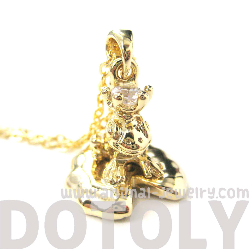 Frog Prince Toad on A Lily Pad Animal Pendant Necklace in Shiny Gold