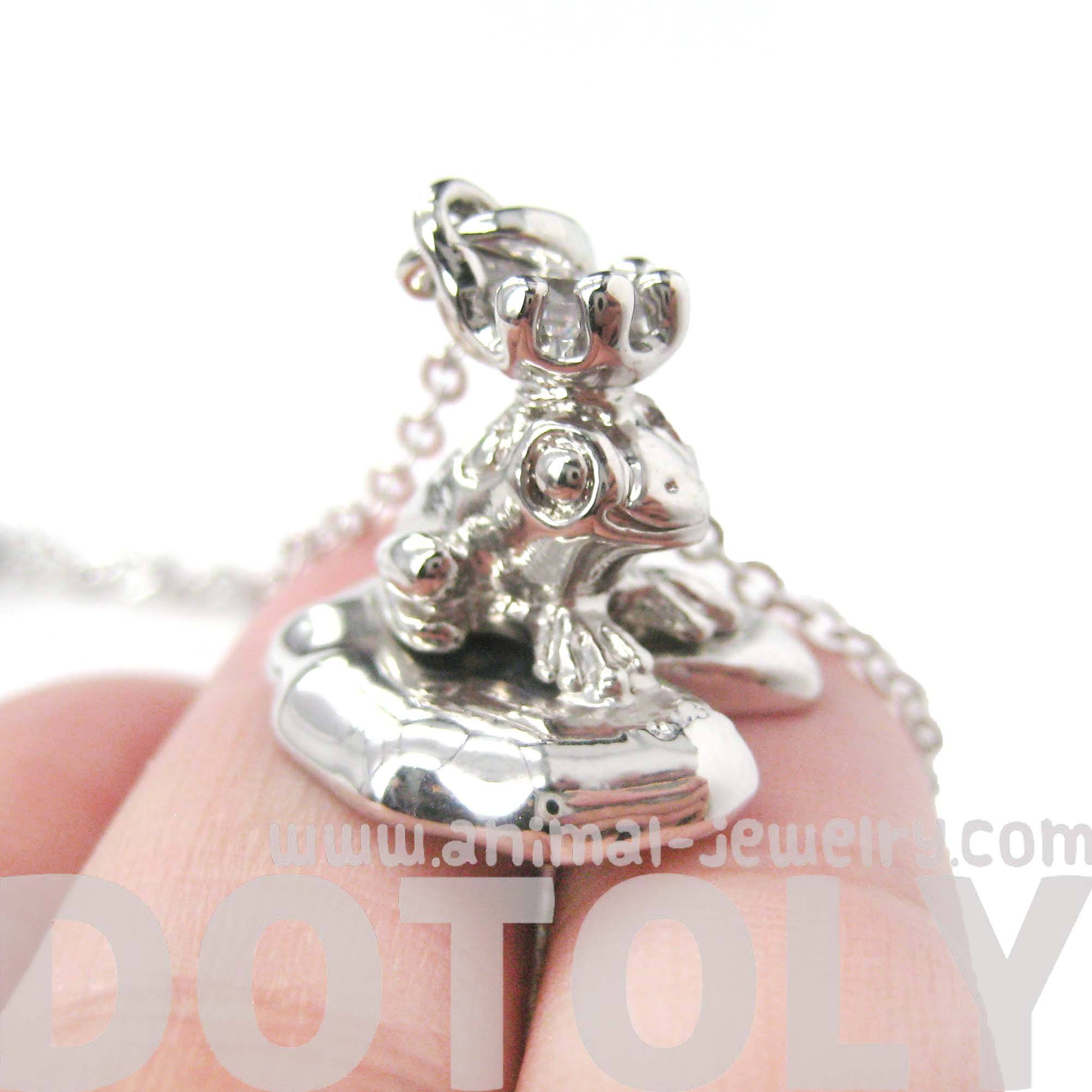 Frog Prince Toad on A Lily Pad Animal Themed Pendant Necklace in Shiny Silver