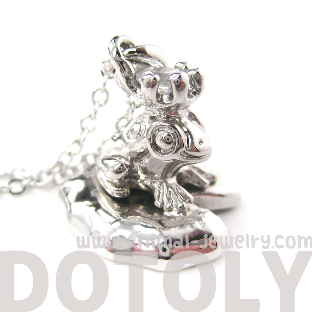 Frog Prince Toad on A Lily Pad Animal Pendant Necklace in Shiny Silver