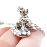 Frog Prince Toad on A Lily Pad Animal Pendant Necklace in Shiny SilverFrog Prince Toad on A Lily Pad Animal Pendant Necklace in Shiny Silver