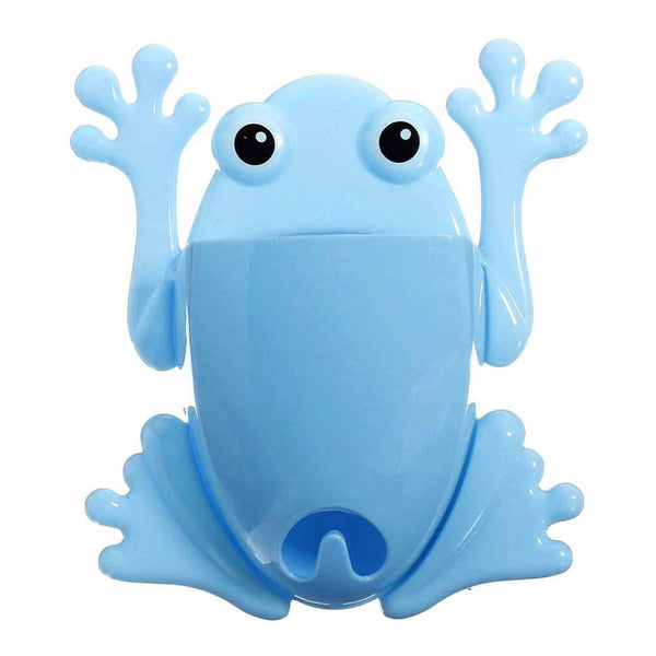 Froggy Frog Shaped Toothbrush Holder Make Up Organizer Bathroom Stand in Blue | DOTOLY