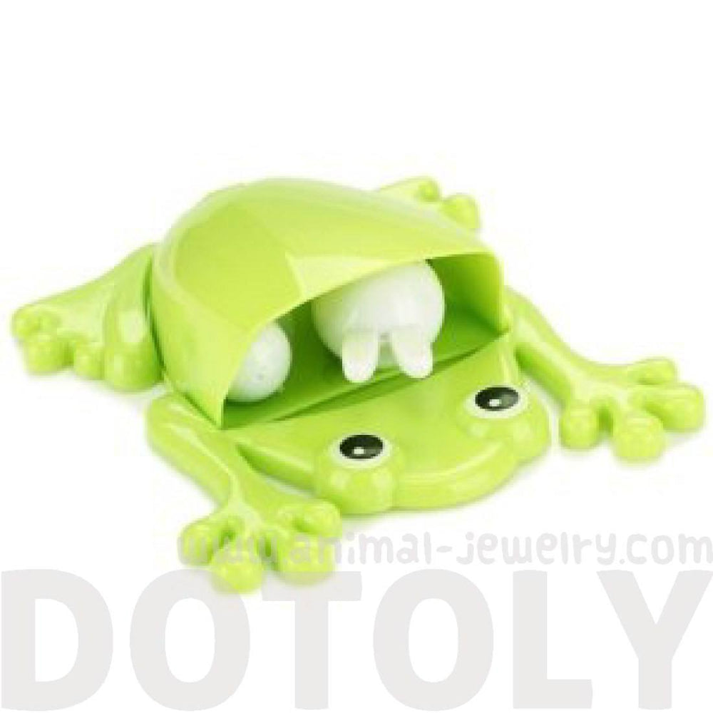 Froggy Frog Shaped Toothbrush Holder Make Up Organizer Bathroom Stand in Green | DOTOLY
