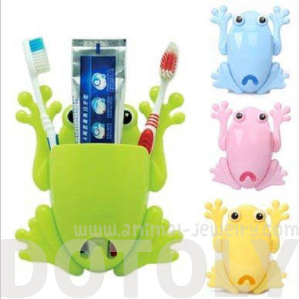 Froggy Frog Shaped Toothbrush Holder Make Up Organizer Bathroom Stand in Yellow | DOTOLY