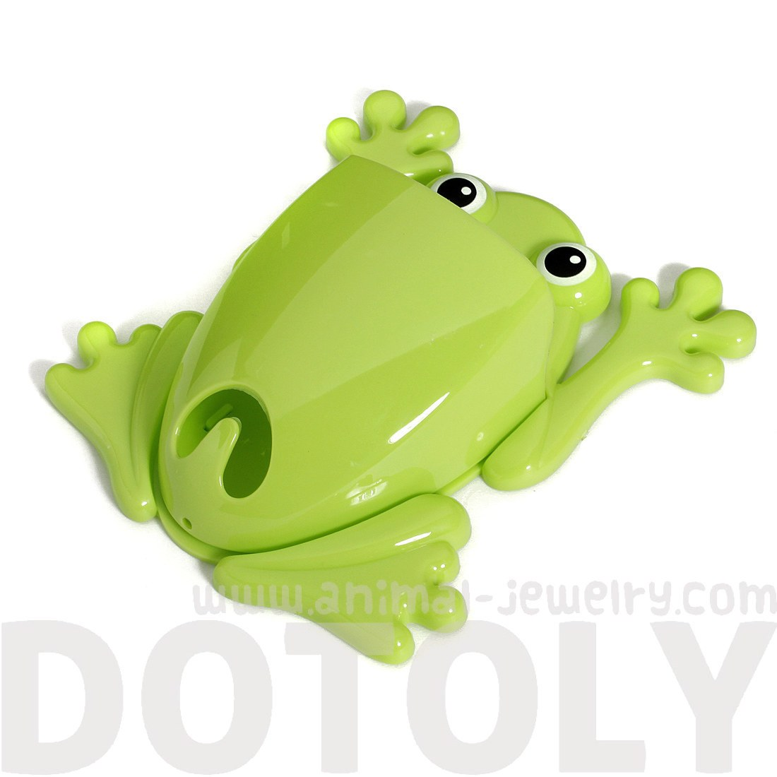 Cute Frog Shaped Toothbrush Holder Make Up Bathroom Organizer in Green