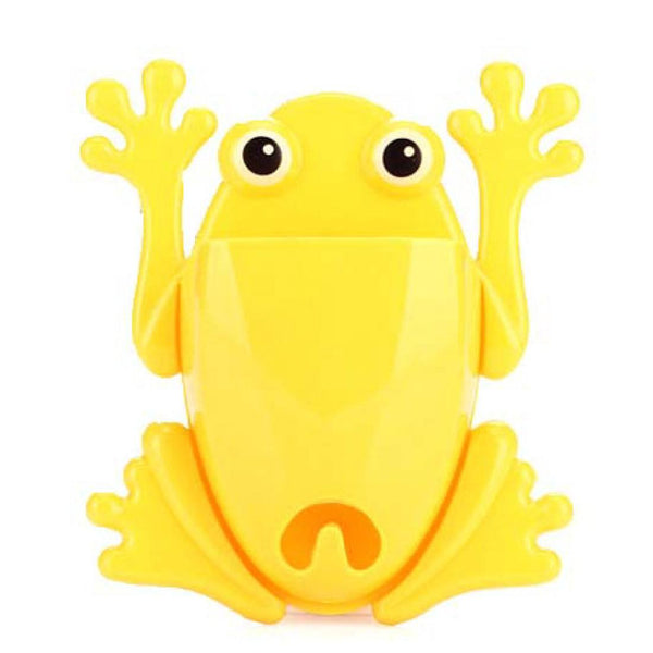 Frog Shaped Toothbrush Holder Make Up Bathroom Organizer in Yellow