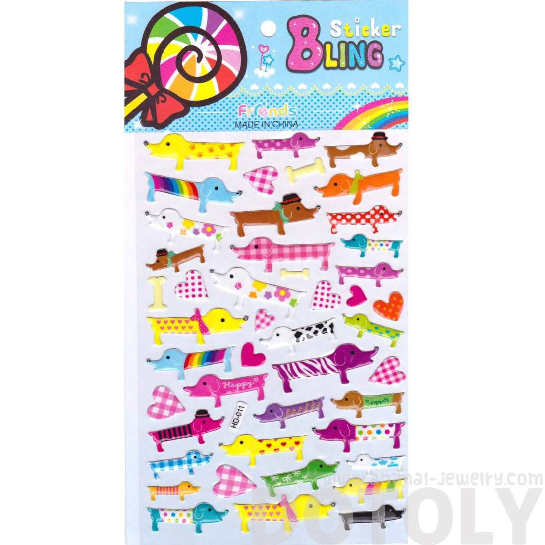 Funky Patterned Dachshund Puppy Dog Shaped Animal Themed Jelly Stickers