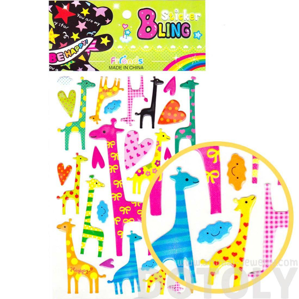 Giraffe Shaped Animal Jelly Stickers for Scrapbooking and Decorating