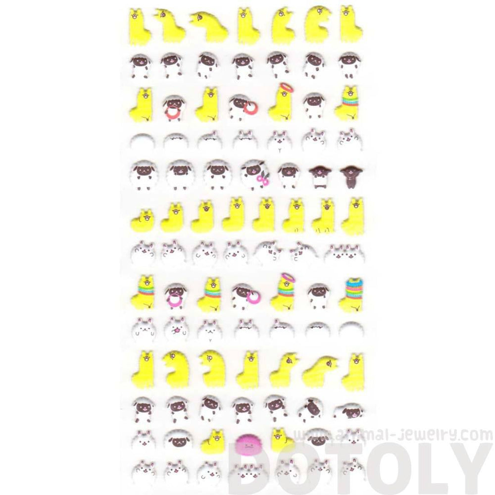 Funny Alpaca Llama and  Sheep Animal Shaped Puffy Stickers for Scrapbooking | DOTOLY