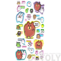 Brown Bear Bunnies Animal Shaped Super Spongy Stickers