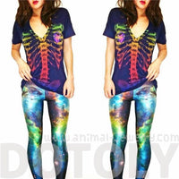 Galaxy Universe Space Nebula Digital Print Legging for Women in Blue