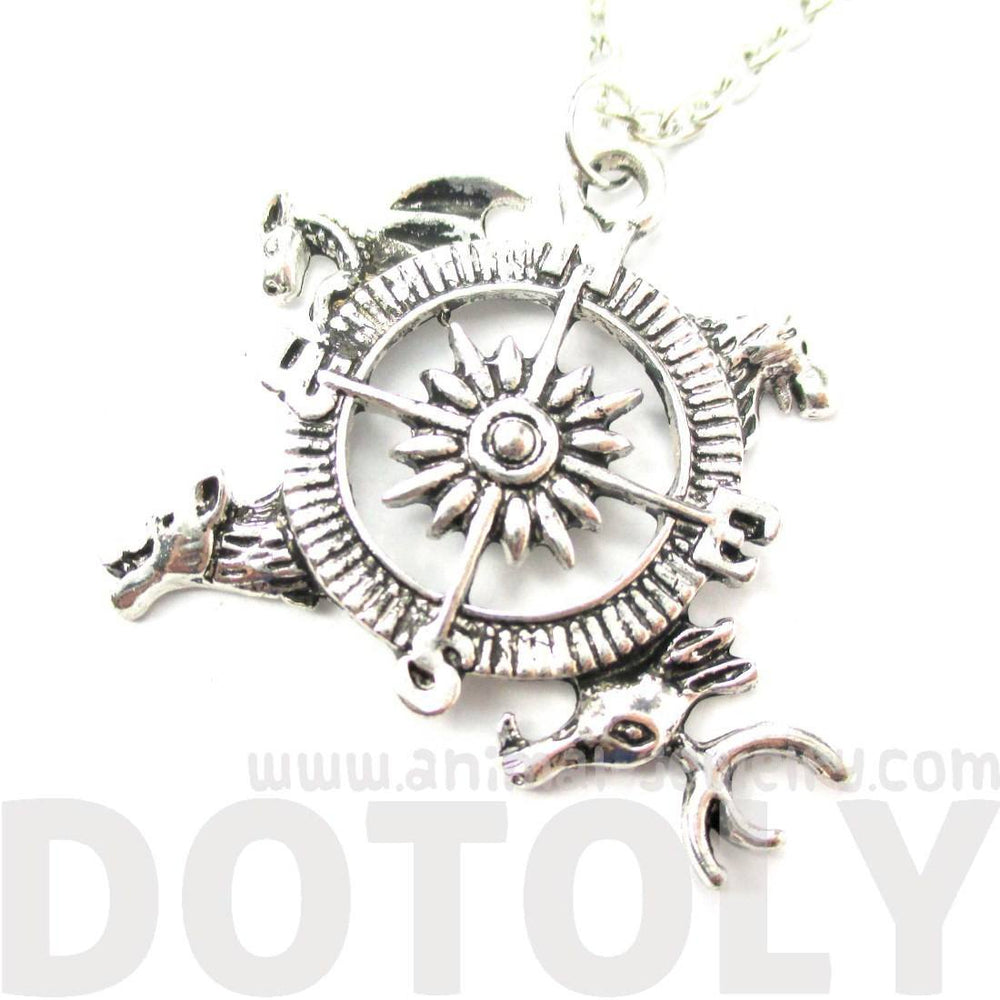 Game of Thrones Lion Stag Dragon Dire Wolf Compass Crest Necklace