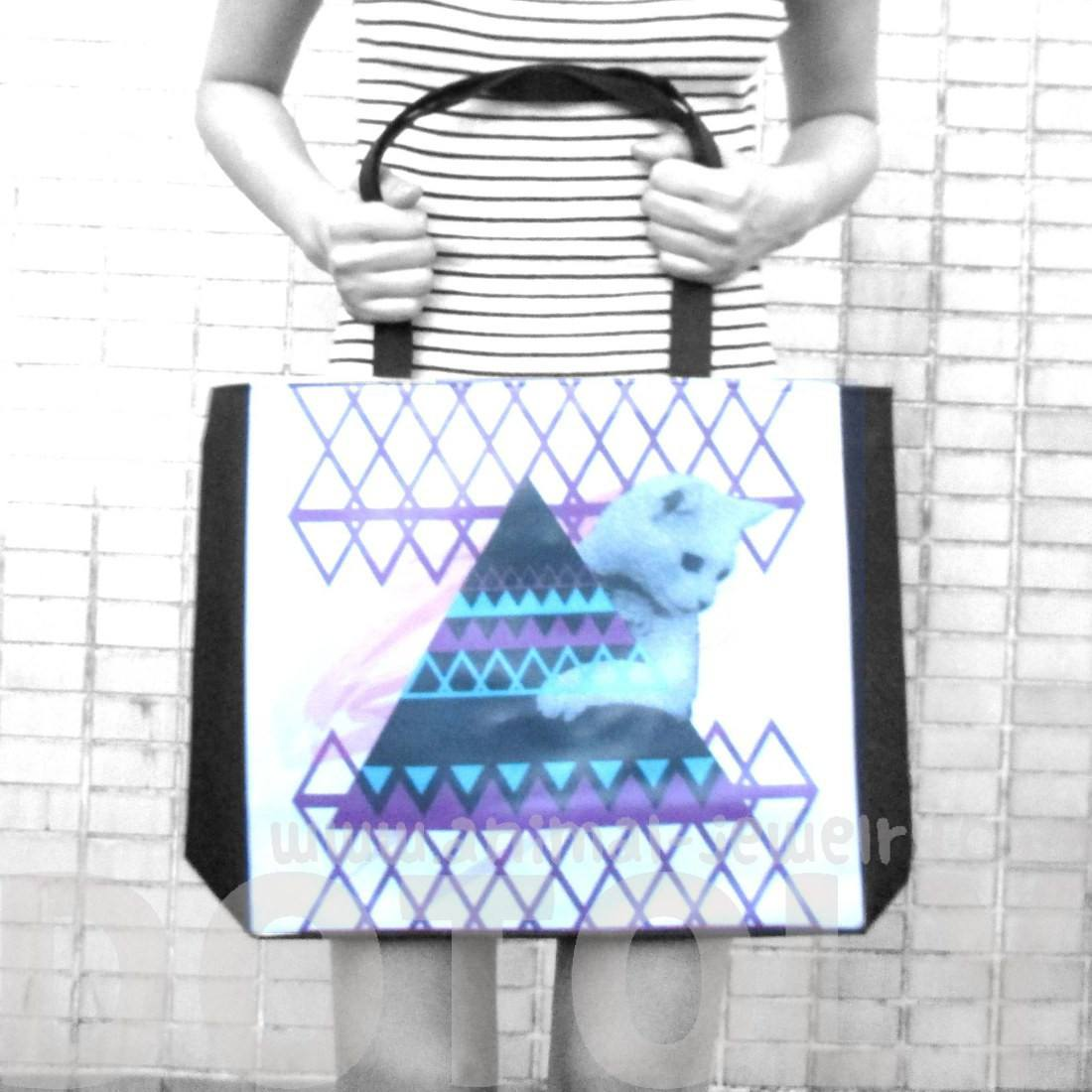 Geometric Kitty Cat Pyramid Art Print Rectangular Shoulder Tote Bag