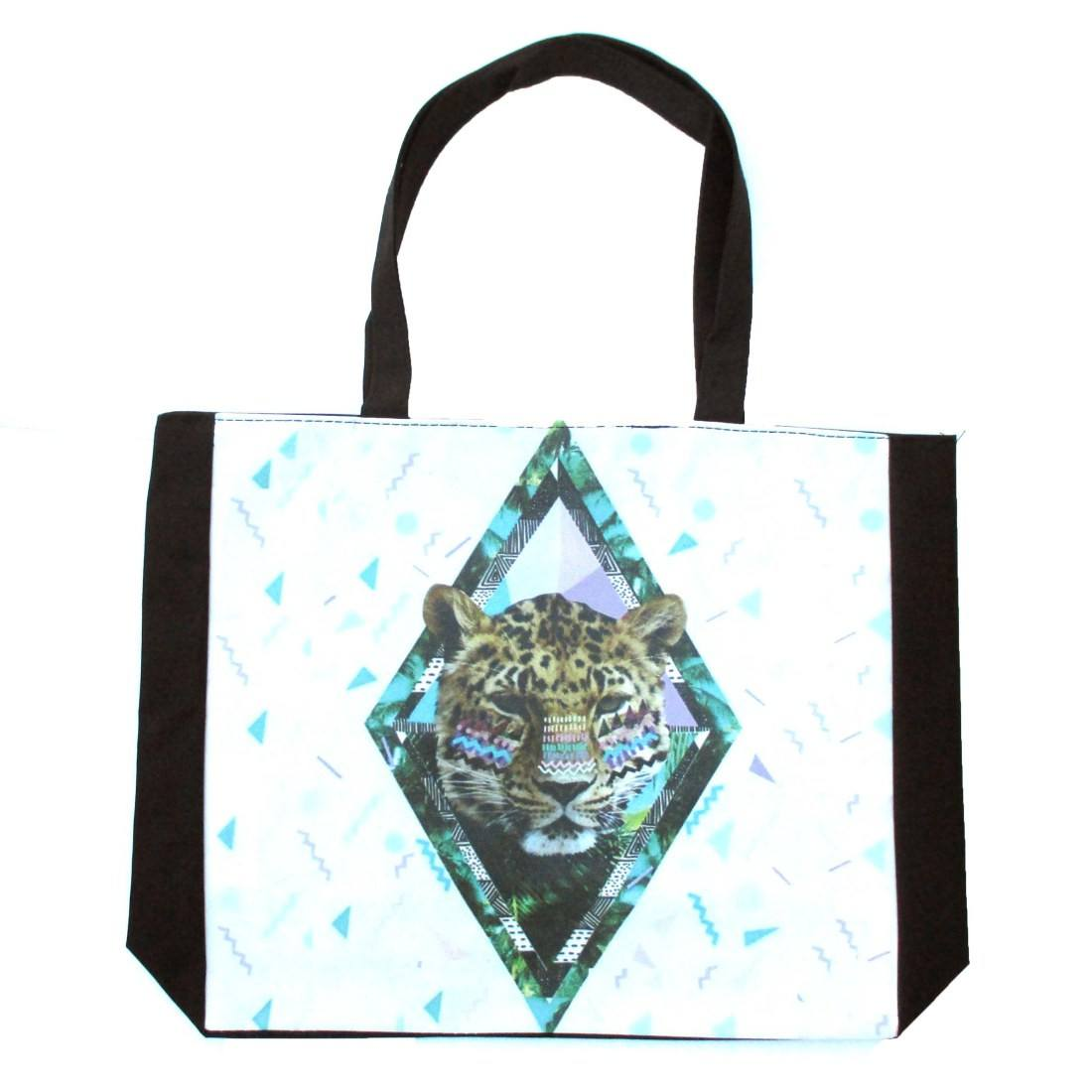 Geometrical Aztec Diamond Leopard Head Print Shopper Tote Shoulder Bag