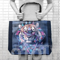 Geometrical Aztec Tiger Head Print Rectangular Shopper Tote Shoulder Bag | DOTOLY | DOTOLY