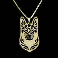 German Shepherd Dog Shaped Pendant Necklace in Gold