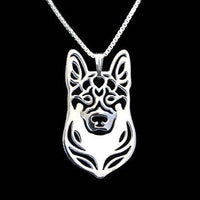 German Shepherd Dog Shaped Pendant Necklace in Silver