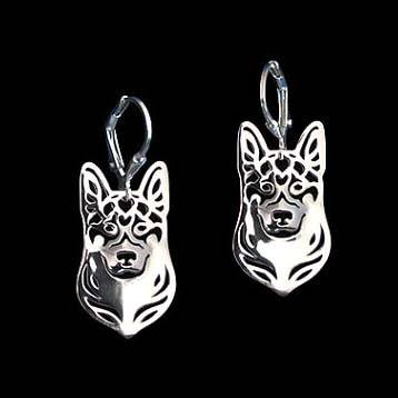 German Shepherd Dog Face Shaped Drop Dangle Earrings