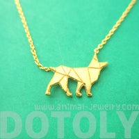 German Shepherd Dog Silhouette Charm Necklace in Gold