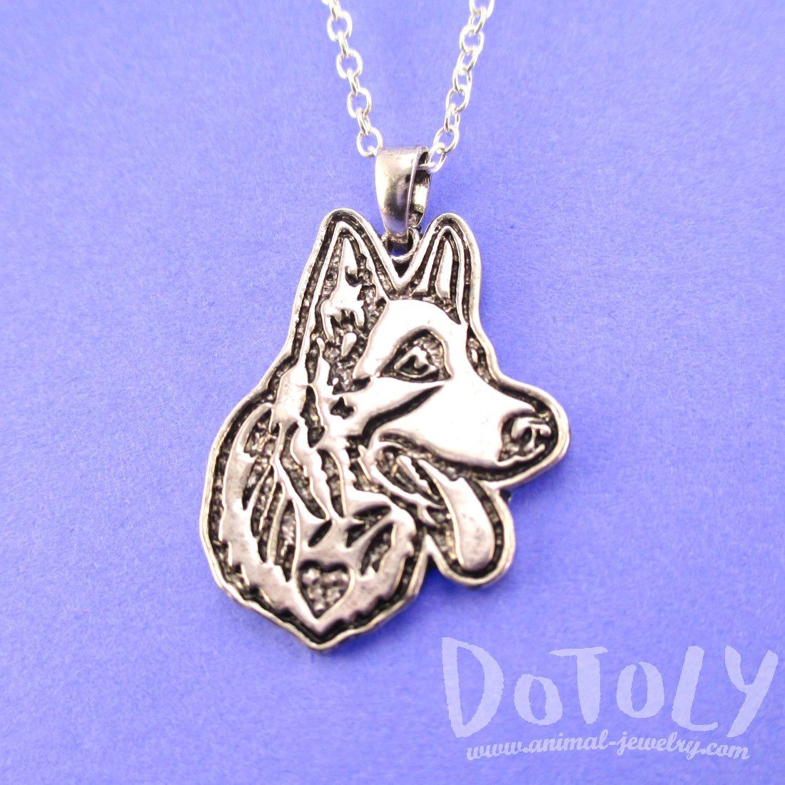 German Shepherd Dog Portrait Pendant Necklace in Silver