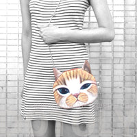 Ginger Kitty Cat Face Shaped Photo Print Cross Body Shoulder Sling Bag