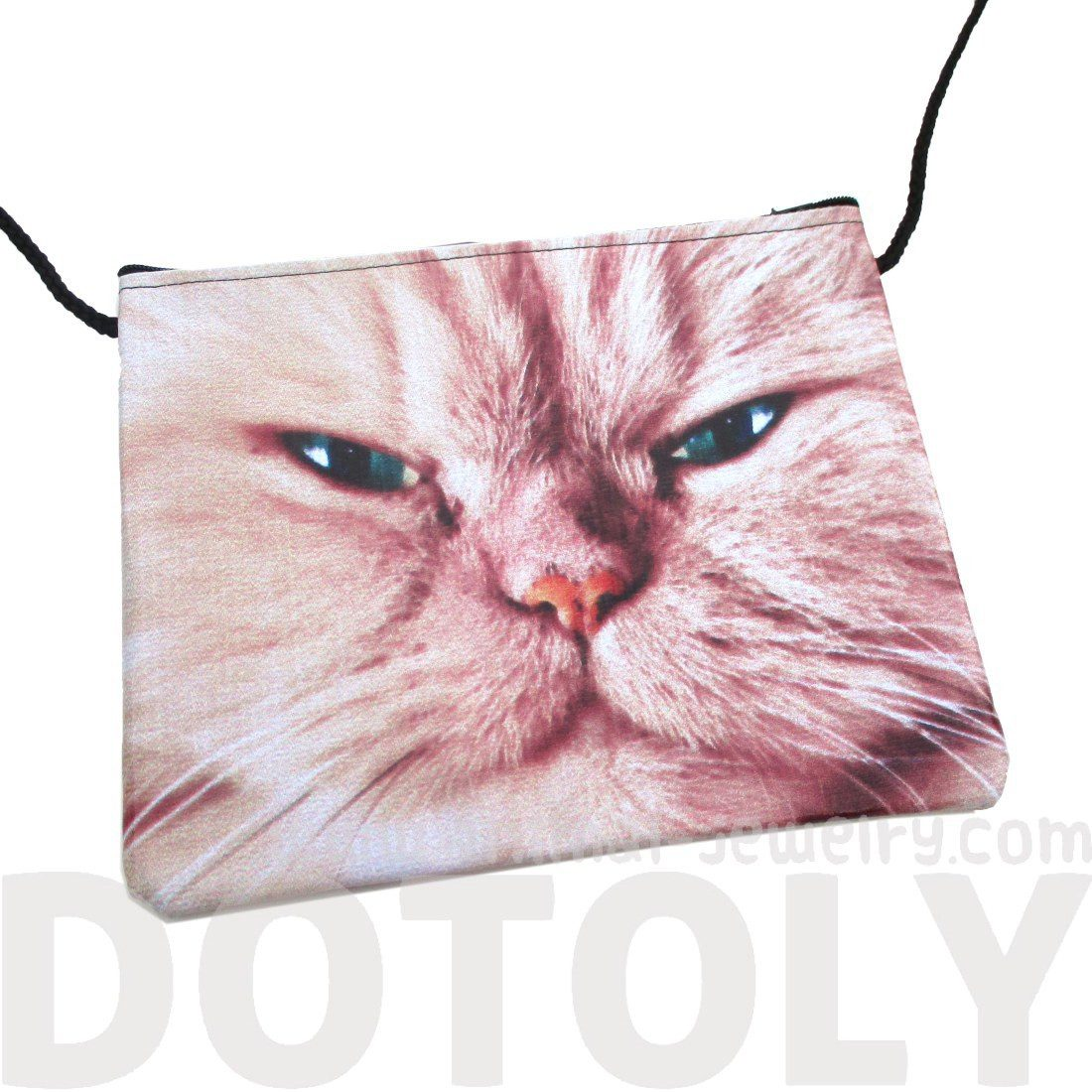 Grumpy Evil Kitty Cat Face Print Cross Body Bag | Gifts for Cat Lovers