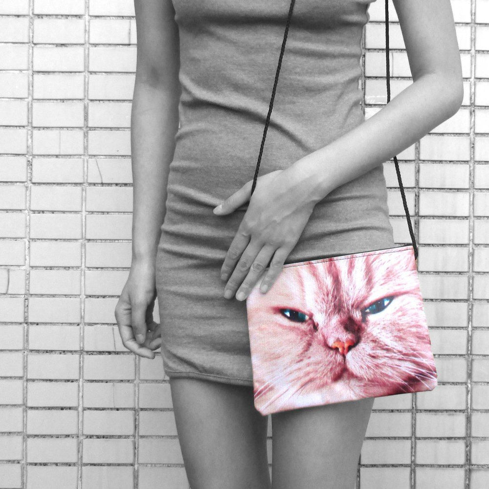Ginger Kitty Grumpy Evil Cat Face Print Rectangular Shaped Cross Body Bag | Gifts for Cat Lovers | DOTOLY