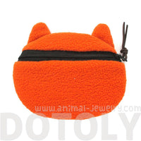 Ginger Tabby Kitty Cat Face Shaped Soft Fabric Coin Purse Make Up Bag