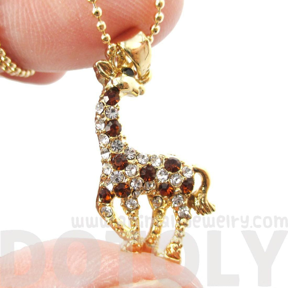 Cute Giraffe Animal Shaped Pendant Necklace in Gold with Rhinestones
