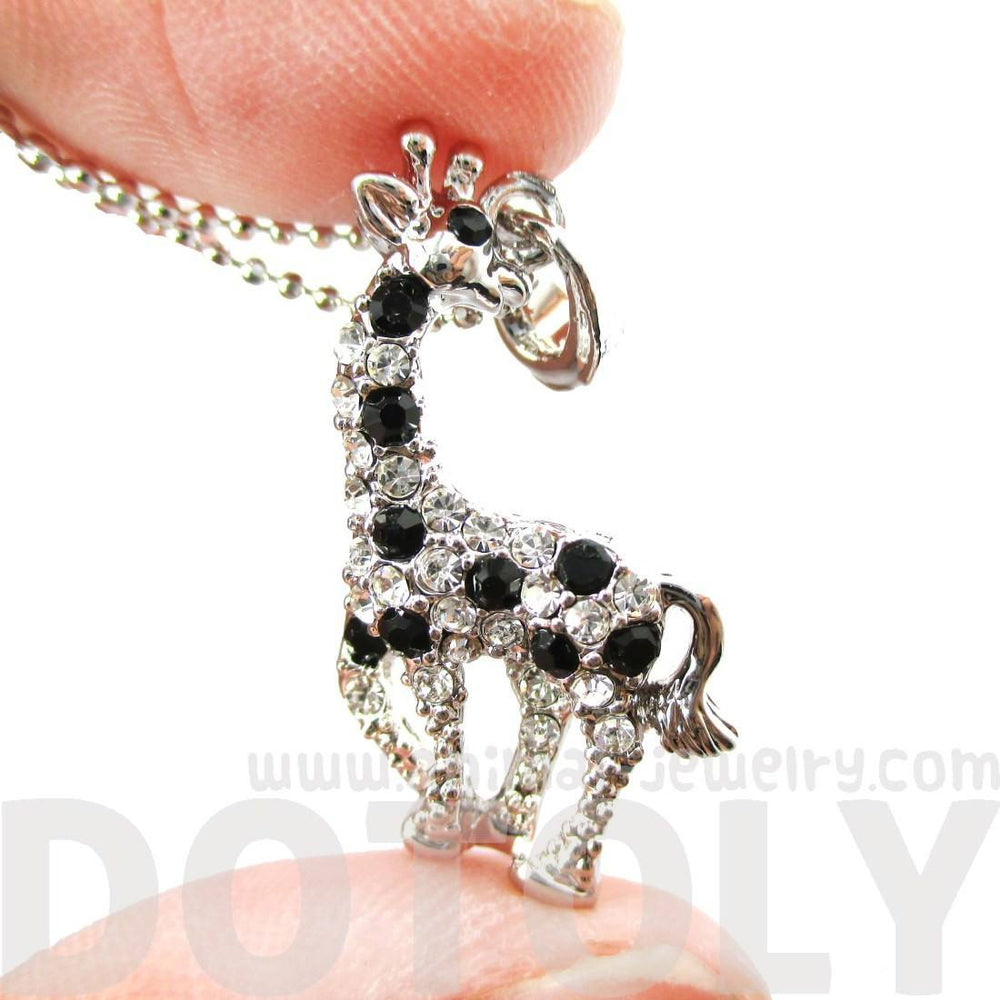 Giraffe Animal Shaped Pendant Necklace in Silver with Rhinestones Animal Print | DOTOLY