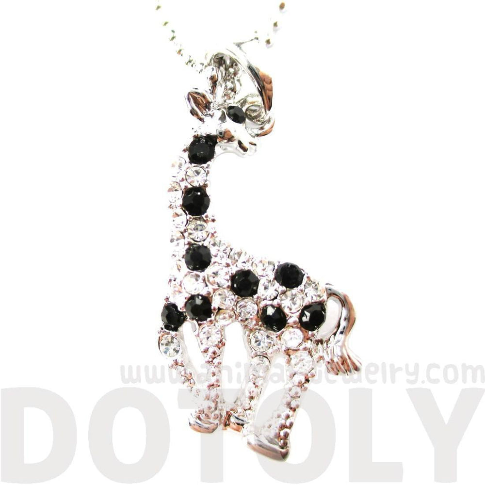 Cute Giraffe Animal Shaped Pendant Necklace in Silver with Rhinestones