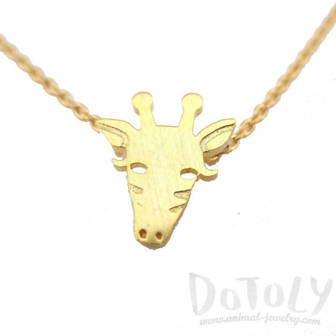 Giraffe Face Shaped Pendant Necklace in Gold | Animal Jewelry
