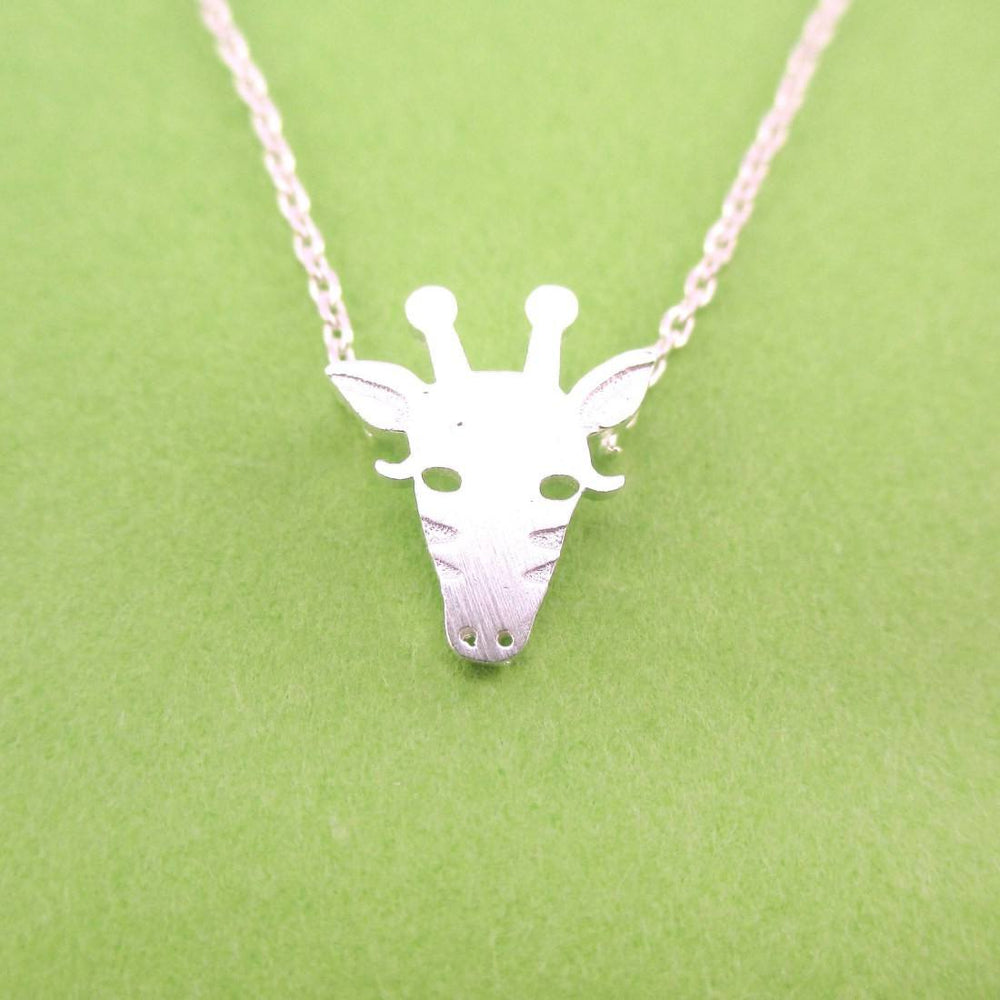 Giraffe Face Shaped Pendant Necklace in Silver | Animal Jewelry