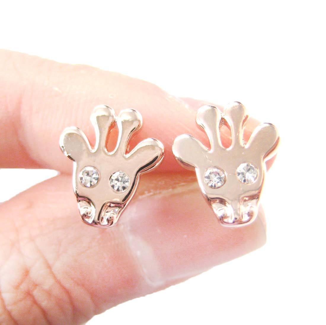 Giraffe Head Shaped Stud Earrings with Rhinestone Eyes in Rose Gold