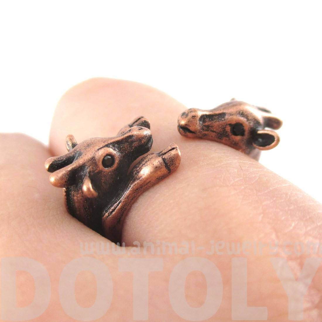 Giraffe Mother Baby Animal Wrap Around Ring in Copper