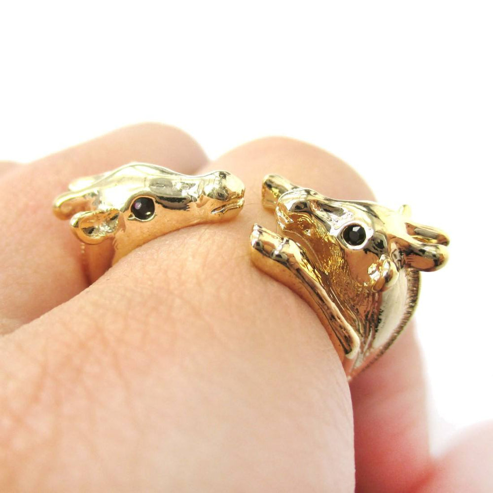 Giraffe Mother and Baby Animal Wrap Ring in Shiny Gold | Sizes 5 to 9