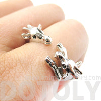 Giraffe Mother and Baby Animal Wrap Ring in Shiny Silver | Sizes 5 - 9
