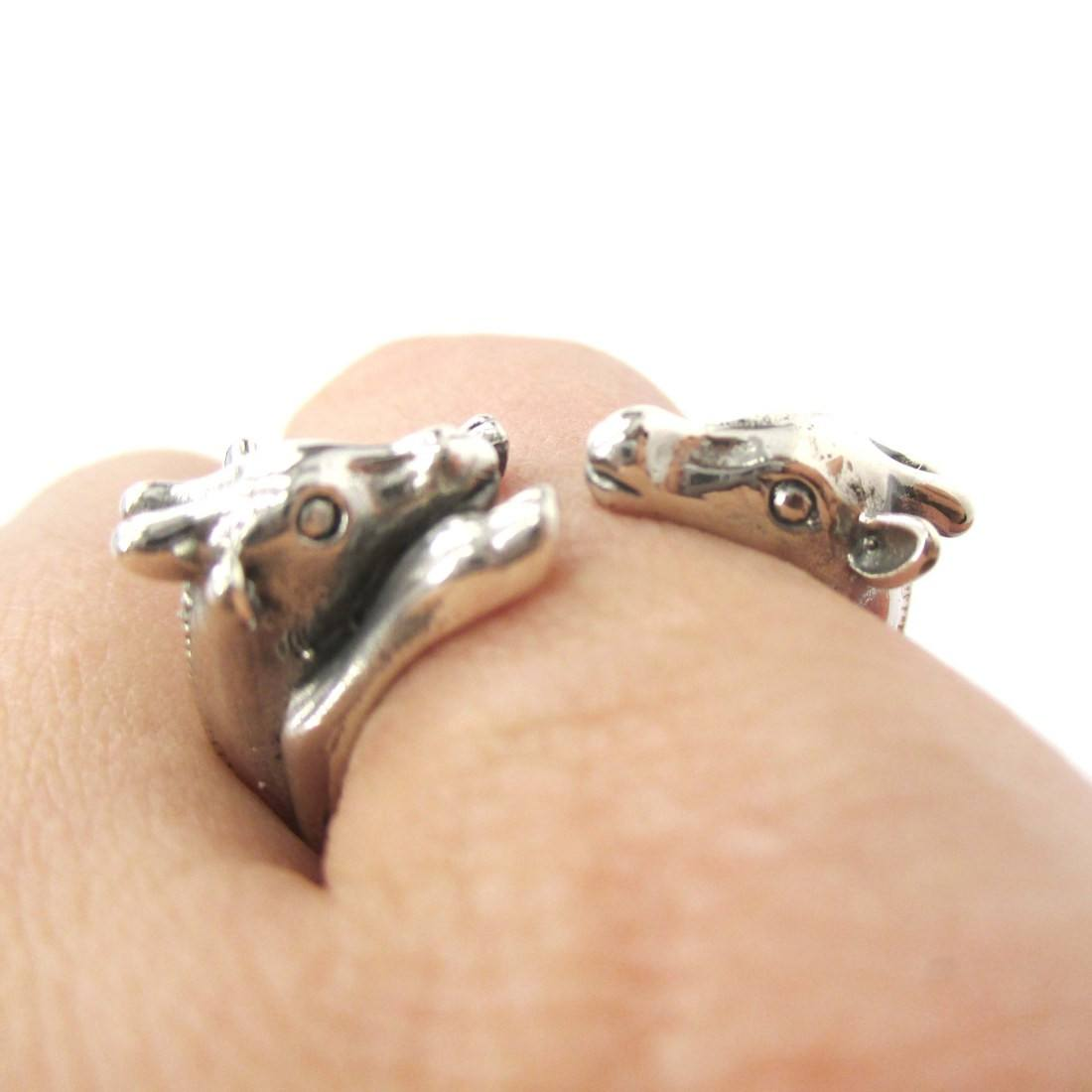 Giraffe Mother and Baby Shaped Animal Ring in Sterling Silver