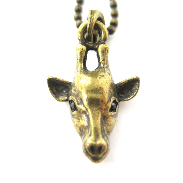 Giraffe Realistic Animal Charm Necklace in Brass | Animal Jewelry | DOTOLY