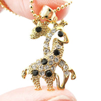 Giraffes with Necks Entwined Pendant Necklace in Gold with Rhinestones
