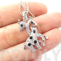 Giraffes with Necks Entwined Pendant Necklace Silver with Rhinestones