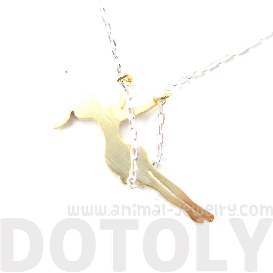 Girl Swinging on a Swing Acrobat Charm Necklace in Silver and Gold