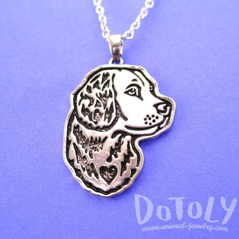 Golden Retriever Dog Portrait Pendant Necklace | DOTOLY