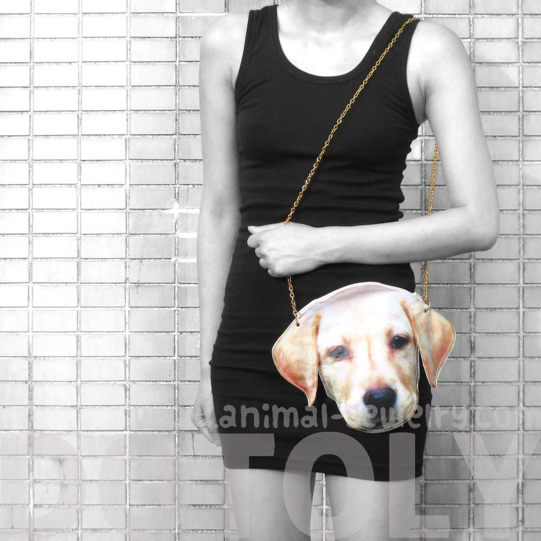Golden Retriever Puppy Dog Face Shaped Vinyl Cross Body Shoulder Bag