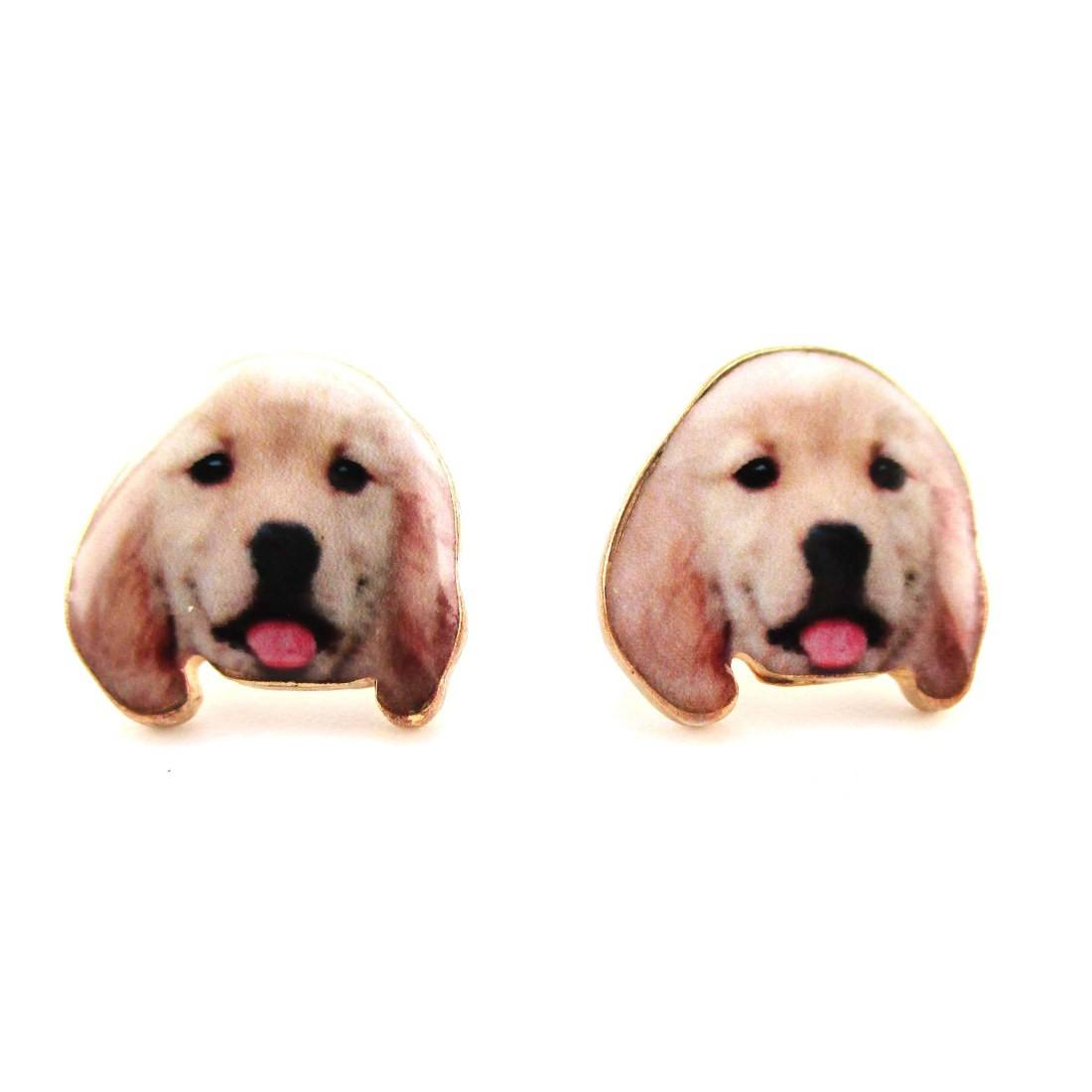 Golden Retriever Puppy Face Portrait Shaped Stud Earrings | DOTOLY