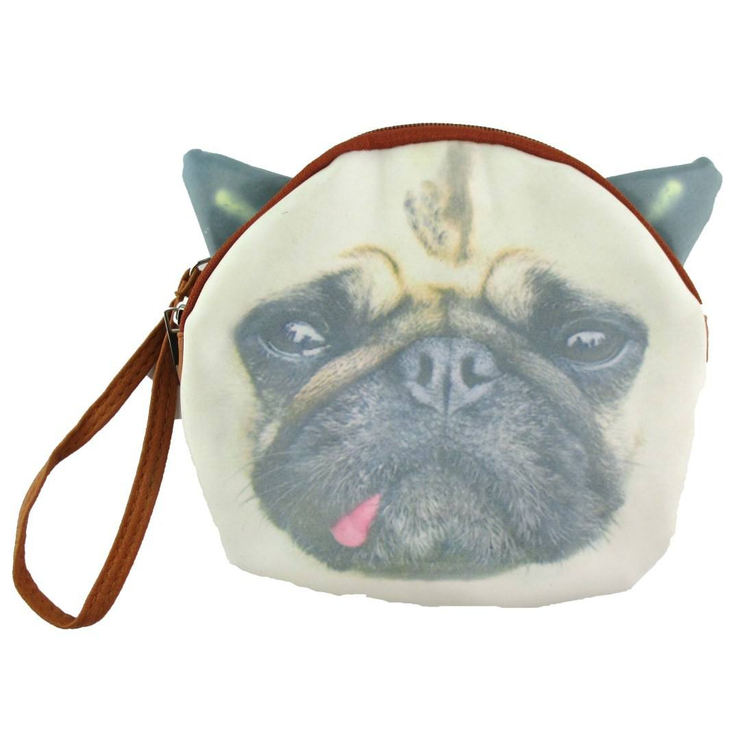 Pug Face with Tongue Sticking Out Shaped Clutch Bag
