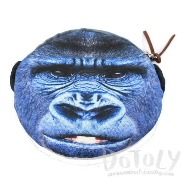 Gorilla Ape Monkey Face Shaped Coin Purse Make Up Bag | DOTOLY